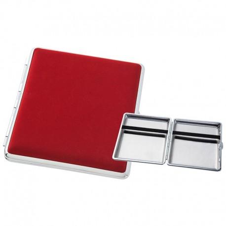 Rood met zilver metaal sigarettendoosje